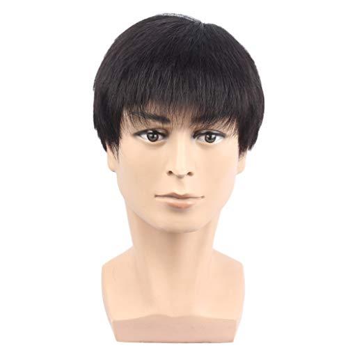 J'sbeauty Hommes Perruque Moyen et Vieille Âgée Réseau de Perruques Cheveux Courts Couvrant Cheveux Blanc Morceaux de Cheveux Couvre-Chefs Véritable Cheveux