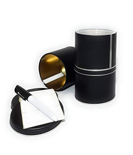WachSam 4er Set Vorratsdosen 500ml aus Metall | matt schwarz beschichtet | mit zusätzlichem Aromaschutzeinsatz | Lebensmittelecht | hergestellt in Österreich und Deutschland