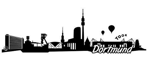 Samunshi® Dortmund Skyline Wandtattoo Sticker Aufkleber Wandaufkleber City Gedruckt Dortmund 120x38cm schwarz