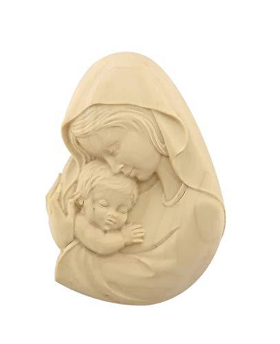 Ferrari & Arrighetti Relieve Virgen con el Niño en Talla de Madera con Acabado Natural para Colgar en la Pared - 9 cm de Altura - Demetz Deur