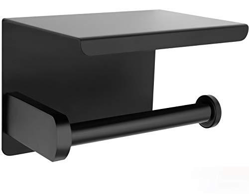 Perfectosan | Toilettenpapierhalter ohne Bohren | Superior-Collection | Modell Theodotus | Klopapierhalter zum Kleben | Handyablage | (Schwarz)