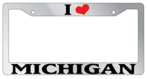 License Plate Frames, METAL License Plate Frame I HEART MICHIGAN Auto Accessory 995 Universal Car License Plate Bracket Holder Rust-Proof Rattle-Proof Weather-Proof 15x30cm