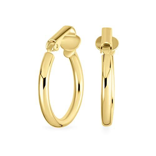 Semplice clip lucida su orecchini a cerchio tubo per donna orecchie non forate 14K oro placcato 925 sterling argento clip in ottone