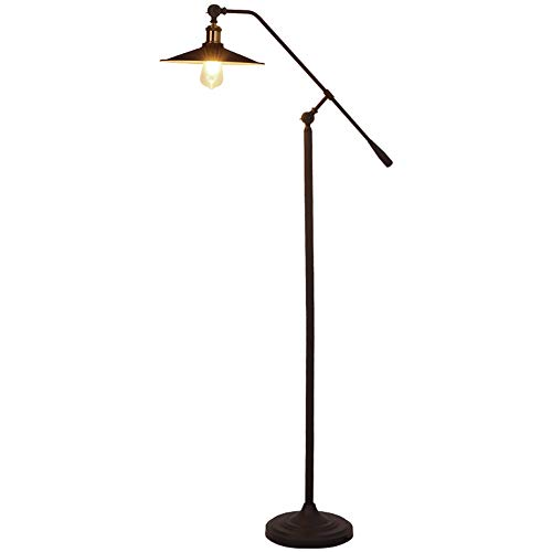 AZYJBF Industrial Black Floor Lamp for Living Rooms and Bedrooms Standing, Adjustable Head Indoor Pole Lamp LED Retro Style Reading Lamp for Bedroom Living Room