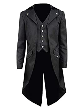 Kids Boys Steampunk Jacket Cosplay Tailcoat Gothic Long Coat with Tails Five Buttons   Boys 8 Black