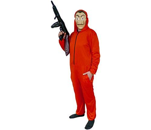 Set Costume Casa di Carta con Maschera Tuta Rossa e Fucile Gonfiabile Taglia XL per Adulti e Ragazzi per Carnevale Halloween Feste a Tema Travestimento per Uomo e Donna
