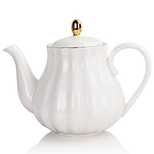 SWEEJAR Royal Teapot, Ceramic Tea Pot with Removable Stainless Steel Infuser, Blooming & Loose Leaf Teapot - 28 Ounce(white)