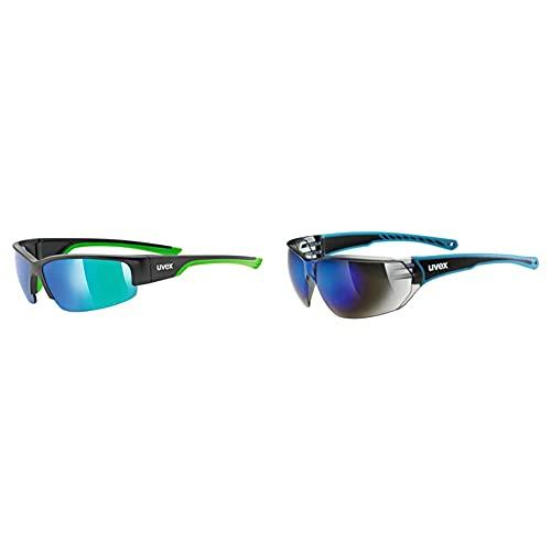 Uvex Unisex– Erwachsene, sportstyle 215 Sportbrille, black mat green/green, one size & Unisex– Erwachsene, sportstyle 204 Sportbrille, blue/blue, one size