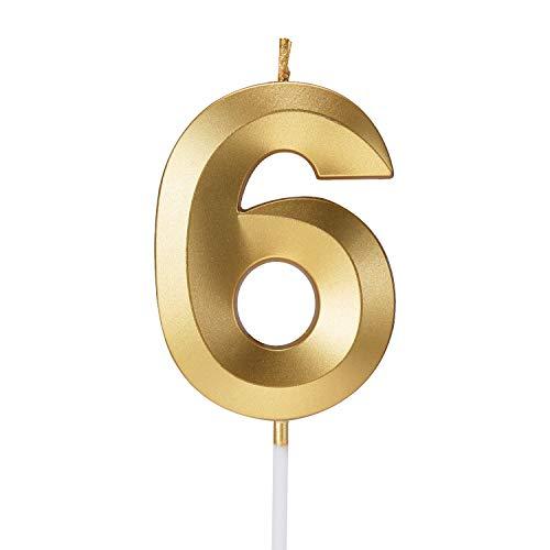 Smarcy Vela de Cumpleaños Número 6 Vela para Tarta Pastele Dorado Decoración de Pastel de Cumpleaños