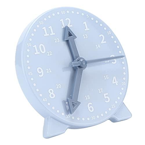 Reloj de enseñanza para niños, 10,3 x 9,9 x 2,3 cm Azul Tiempo de aprendizaje Ayudas para la enseñanza de matemáticas con 3 manecillas de reloj para aulas, salas de juegos y dormitorios de niños