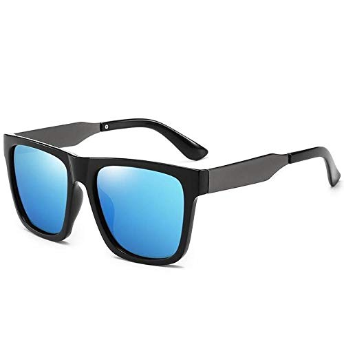 Unisex Casual Gafas de sol polarizadas Gafas de sol de hombre Plaza Gafas de sol Hombre Gafas de sol Mujer Conductor Conductor Conductor, Bright Black Box Ice Blue Film,