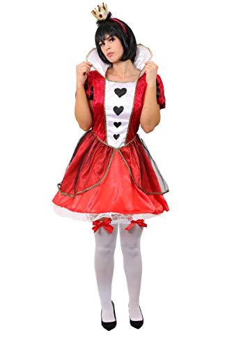 Disfraz de reina de corazones para adultos, disfraz de reina de corazones para el Día Mundial del Libro, Semana del Libro, vestido de Reina de Corazones de Alicia y Corona