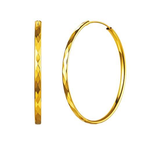 Silvora 50mm Aros Oro Pendientes Cartilago Hoop Huggie Aros Medianos para Hija amiga Novia