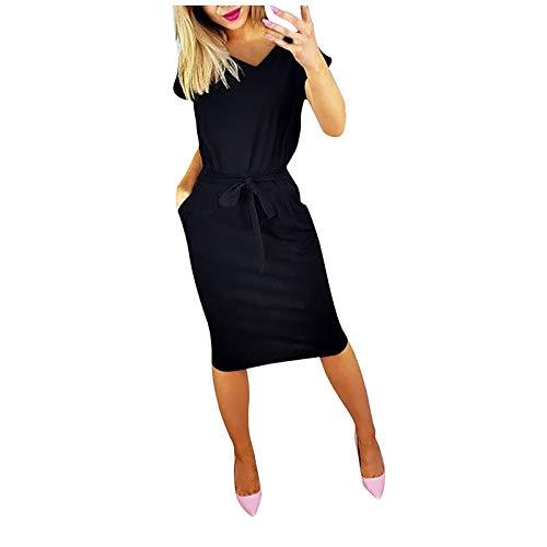 BHYDRY Damen Sommer Kurzarm Taille Schlank Temperament V-Ausschnitt Abendkleid mit Gürtel Minikleid Kleider Damen Sommer Damen Kleid Sexy