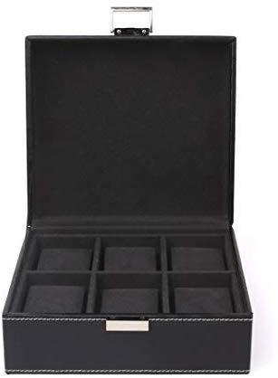 FEMOR Caja para Relojes Estuche para Guardar Joyerías Soporte de Exhibición de Relojes Pulsera PU Negro 6 Compartimentos 2x3 Almohadillas Negro