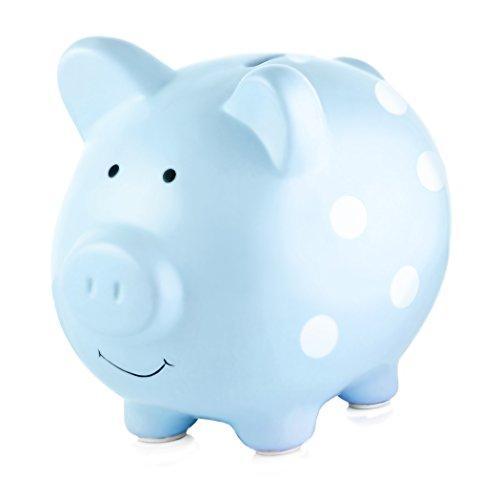 Pearhead Ceramic Piggy Bank, Baby Boy Money Bank Keepsake, Nursery Décor, Blue Polka Dot