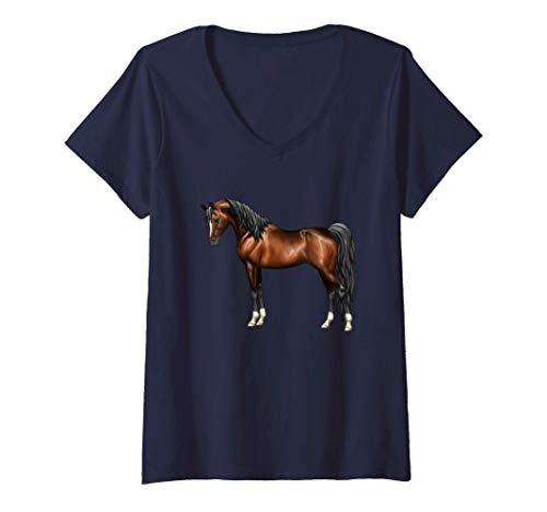 Damen Schönes Arabian dunkelbraunes arabisches Pferd T-Shirt mit V-Ausschnitt