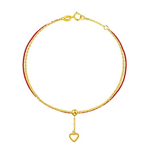 18k oro minimalista amor corazón tobillo mujeres borla joyería cuerda roja playa regalos simples ajustable