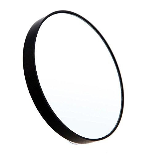 Baalaa Miroir de maquillage grossissant x 10 avec deux ventouses - Miroir rond grossissant 10 fois - Noir