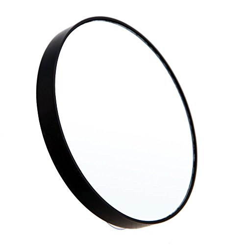 Haude 10-fache Vergrößerungsspiegel mit zwei Saugnäpfen, runder Spiegel, großer Spiegel, 10-fache Vergrößerung, schwarz
