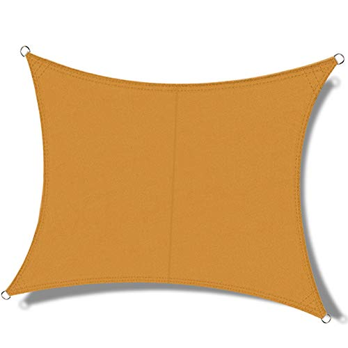 OKAWADACH Toldo Vela de Sombra Rectangular 2 x 4m, protección Rayos UV Impermeable para Patio, Exteriores, Jardín, Color Arena