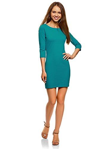 oodji Ultra Damen Baumwoll-Kleid Basic, Türkis, DE 38 / EU 40 / M