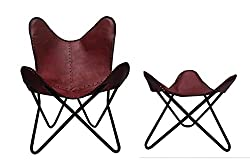 Handmade Leather Arm Chair Cover with Iron Stand
