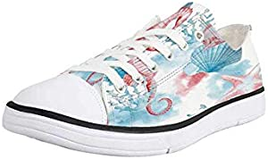 Canvas Sneaker Low Top Shoes,Nautical Decor,Sea Shells Sea Horse Corals Fish Sandy Beach Exotic Stylized Water Color Effect Decorative