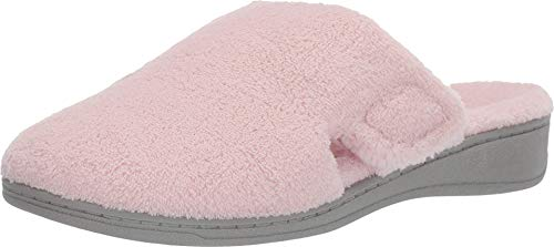 Vionic Women's Gemma Mule Slipper - Comfortable Spa House Slippers That Include Three-Zone Comfort with Orthotic Insole Arch Support, Soft House Shoes for Ladies Pink 7 Medium US
