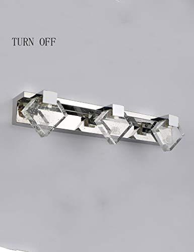 MJY Mode LED-Lampen Spiegel Bad - Kristallspiegel Spiegel in Edelstahl Licht vor dem einzigen Deluxe Modern Bad Kosmetikspiegel - Spiegel der Scheinwerfer,Weißes Licht-48 * 10 * 5.5cm,