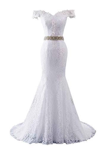 Changuan Women's Wedding Dresses for Bride Lace Appliques Beach Wedding Dress Mermaid Bridal Gown White Off-Shoulder-14