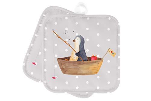 Mr. & Mrs. Panda Topfuntersetzer, Handschuhe, 2er Set Topflappen Pinguin Angelboot - Farbe Grau Pastell