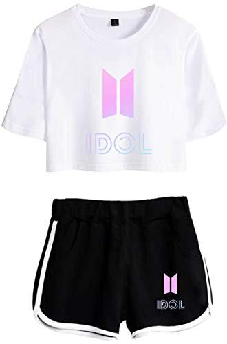 OLIPHEE Mädchen Sportwear Top & Kurze Höschen Anzug mit BTS Bangtan Boys Aufdruck Bekleidungssets Weiß Schwarz XS