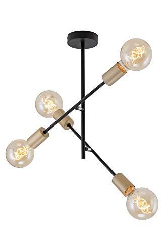 Briloner Leuchten Deckenleuchte, Deckenlampe mit 4 Spots im Retro/Vintage Design, Arme schwenkbar, E27, Metall, Maße: 41x40.2 cm, Schwarz-Pale-Gold, 60 W