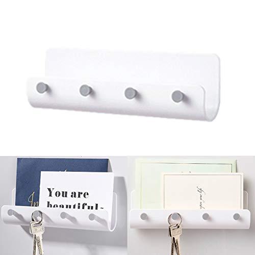 Toyyevr Minimalistische Schlüsselboard,Nicht markierender Selbstklebender Schlüsselleiste Schlüsselbrett mit Vier Schlüsselhaken Benutzt für Aufbewahrung von Schlüssel (Weiß)