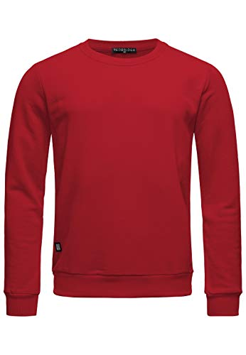 Redbridge Herren Sweatshirt Pullover Basic Uni Baumwolle Sweater Bordeaux M