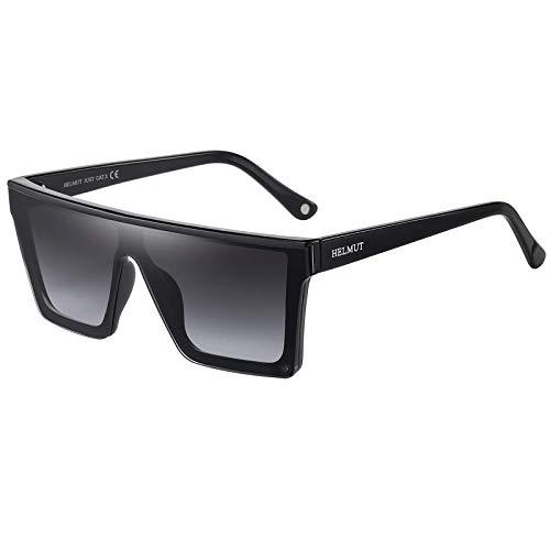 H HELMUT JUST Gafas de Sol para Hombre Mujer Grandes Tamaño Cuadradas Moda Lente de Nylon Montura de TR90 Patilla de Acetato