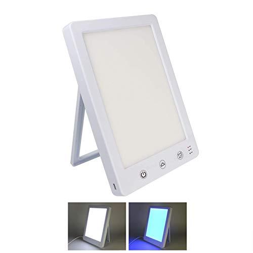 Tageslichtlampe,Tragbare 10000 Lux Usb Stufenloses Dimmen LED Sonnenlicht Lampe Weiß Blau Licht Für Startseite Büro Winter SAD Depression-Weiß 22x15x2cm(9x6x1inch)