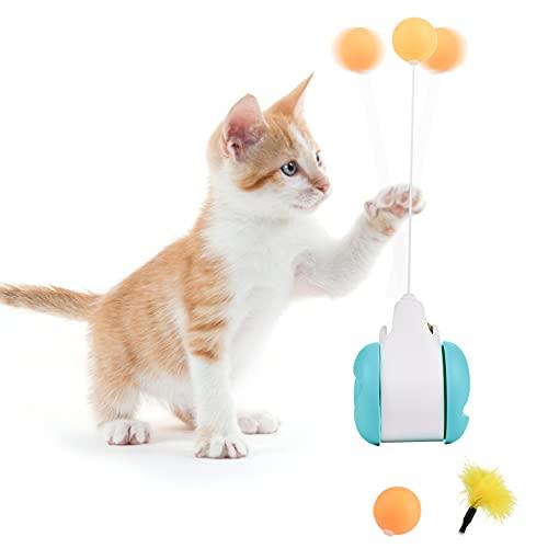 FGen Palla Giocattolo Gatto Interattiva, Giochi per Gatti Bilanciato, Bilanciere Indoor per Gatti Rotazione 360 °, Caccia Cat Toys con Catnip, per Addestrare Gattini (Blu)
