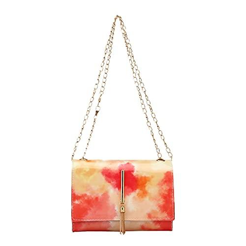 WEIBM Bolso de mujer de moda con cadena de impresión de teñido anudado, bolso cuadrado pequeño, bolso de hombro del todo fósforo