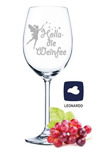 Leonardo Weinglas mit Gravur - Holla die Weinfee - Geschenk für Hobby-Sommelier & Weinliebhaber - Weingläser - Geburtstagsgeschenk für Frauen & Männer