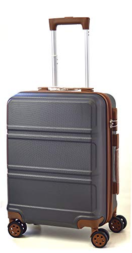 DK Luggage Starlite ABS Cabin 20' Hardshell Suitcase 4 Wheel Spinner with Tan Trimming Grey