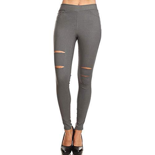 Dihope, dameslegging, jeans, gat, bekrast, tight, skinny slim, hoge taille, denim broek, elastisch, casual potlood rekbaar