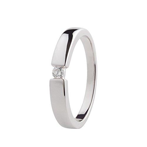 Ardeo Aurum Damenring aus 585 Gold Weißgold mit 0,07 ct Diamant Brillant Spannfasssung Verlobungsring Solitär