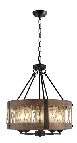 20 Inch Wide Round Wood Shade with Rope, 5 Light Farmhouse Style American Country, Antique Retro Perfect for Dining Room Kitchen Salon