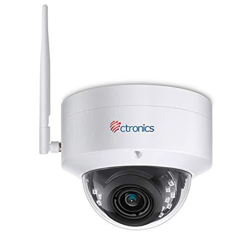 Ctronics - Telecamera di sorveglianza per esterni, 5 MP, Wi-Fi, IP, telecamera per esterni, fino a 30 m, visione notturna a infrarossi, rilevamento di persone, IP 65, impermeabile, supporta scheda SD
