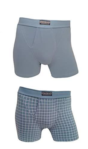 Abanderado Pack de 2 Boxer Abiertos de algodón elástico Ocean, Azul (Azul Claro Cuadro 1LO), X-Large (Tamaño del...