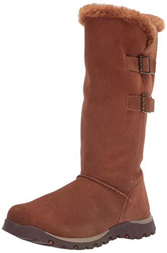 Skechers Women's Grand JAMS-Tall Double Buckle Boot with Fur Trim and Warm Tech Memory Foam Mid Calf, Chestnut, 5.5 M US