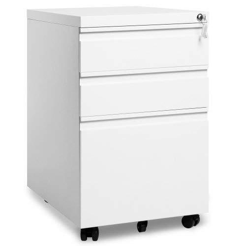 Nachttisch weiß,Rollcontainer, nachtschrank,Mobiler Aktenschrank, Bürocontainer mit 3 Schubladen, abschließbar, Aufbewahrung von Akten, Büroutensilien, 39 x 52 x 60cm (White)