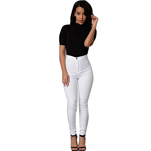 Ularma Damen High-Waist Stretch Röhrenjeans Denim Jeans Modern Lässige Hosen (S, Weiß)